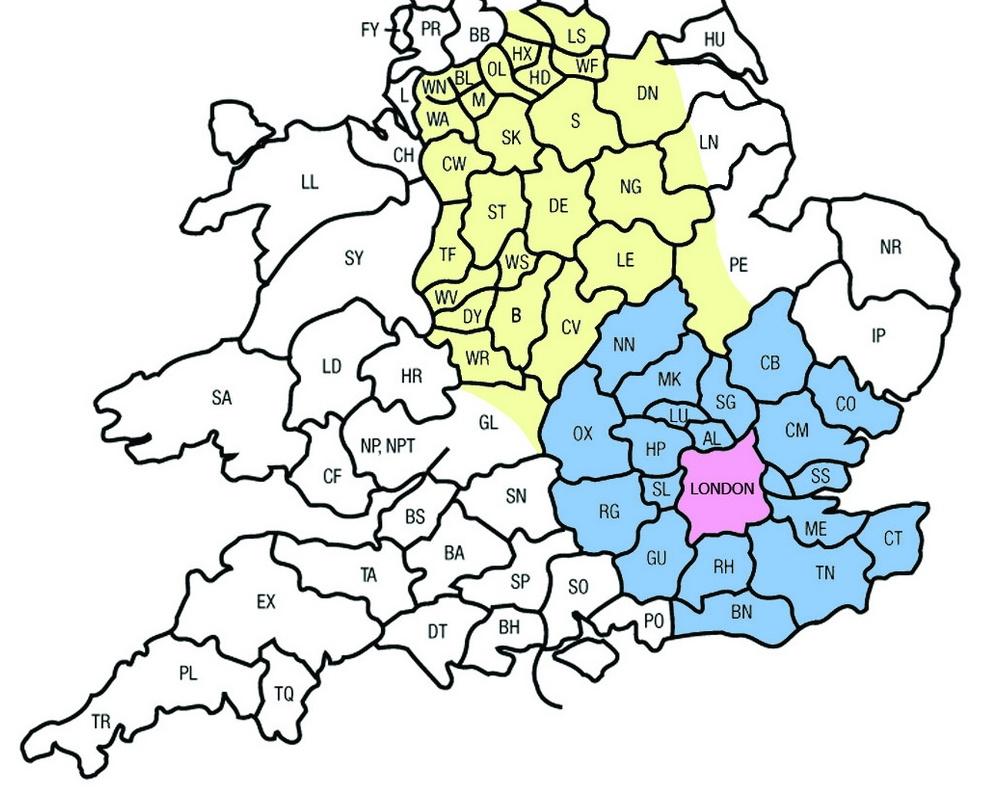 mapa UK